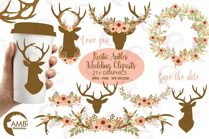 Rustic Antlers and  Florals cliparts, graphics and illustrations AMB-1483