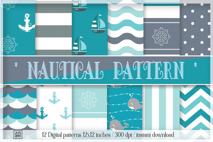 Nautical patterns - Digital Papers - Nautical backgrounds - Personal and commercial use - Instant Download