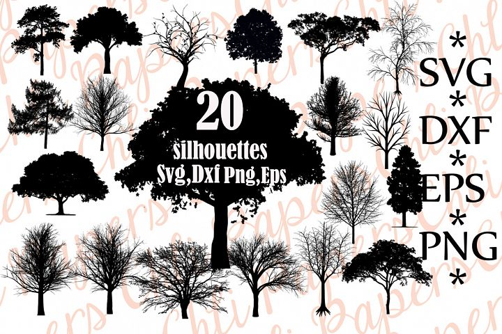 Tree Svg Bundle,TREE SILHOUETTE SVG, Trees Clipart