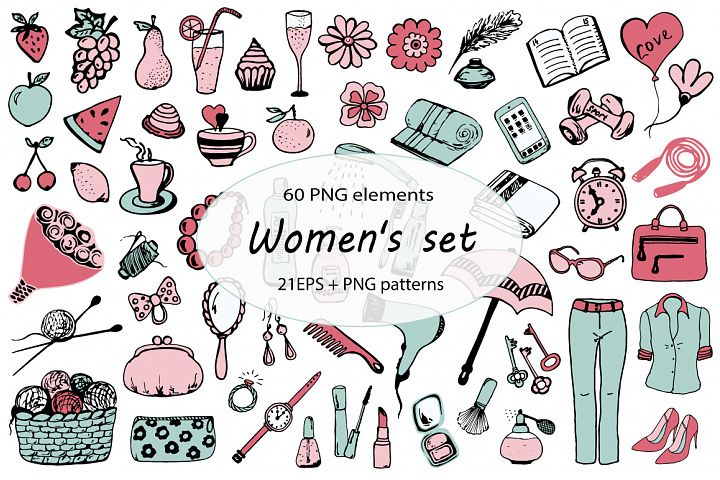 Womens set, hand-drawn
