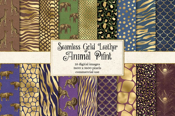 Gold Leather Animal Print Digital Paper