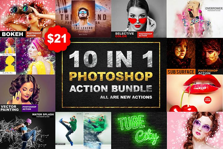 10 In 1 Photoshop Action Bundle