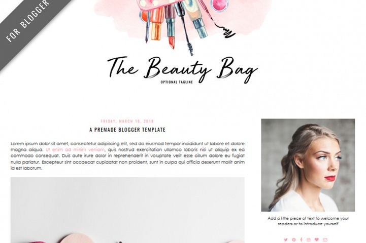 Premade Blogger Template - Mobile Responsive - Watercolor Design Blog - The Beauty Bag Theme