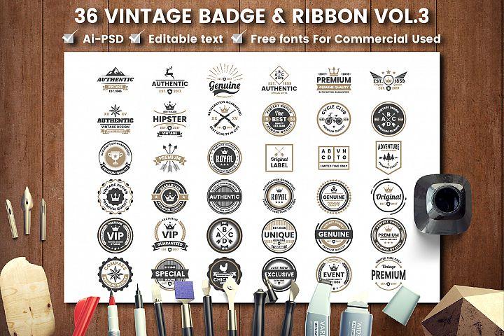 36 VINTAGE BADGE & RIBBON Vol.3