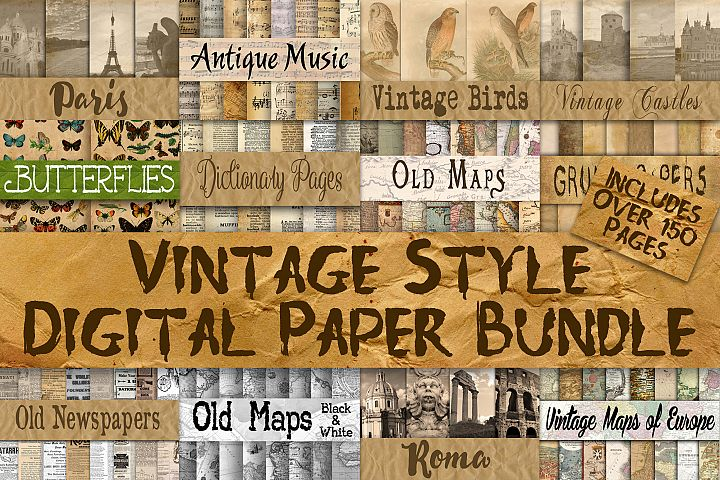 Vintage Style Digital Paper Bundle