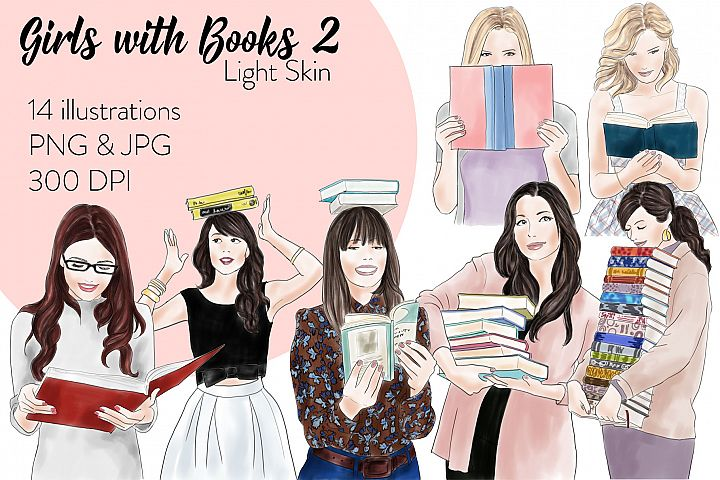 Fashion illustration clipart - Girls with books 2 - Light Skin