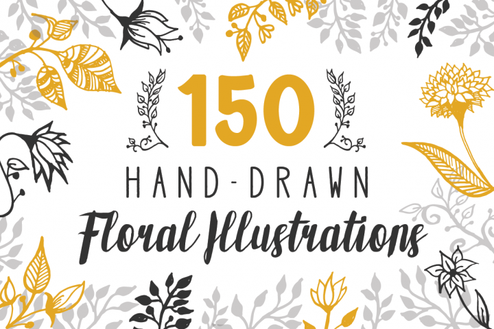 150 Hand-Drawn Floral Illustrations