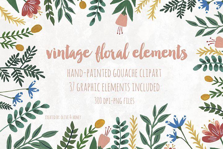 Vintage Flowers & Leaves