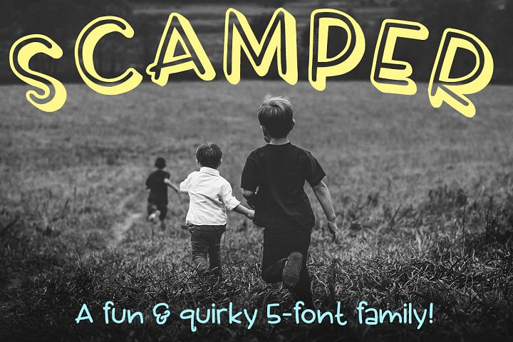 Scamper: a five-font family