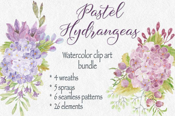 Watercolor clip art bundle: pastel Hydrangeas