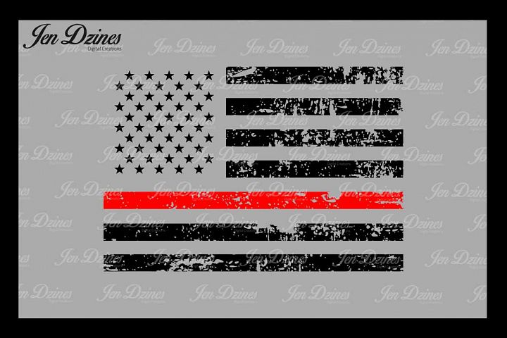 Red Line Distressed Flag  SVG DXF EPS PNG