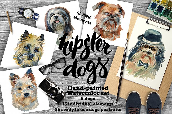 Hipster dogs watercolor set