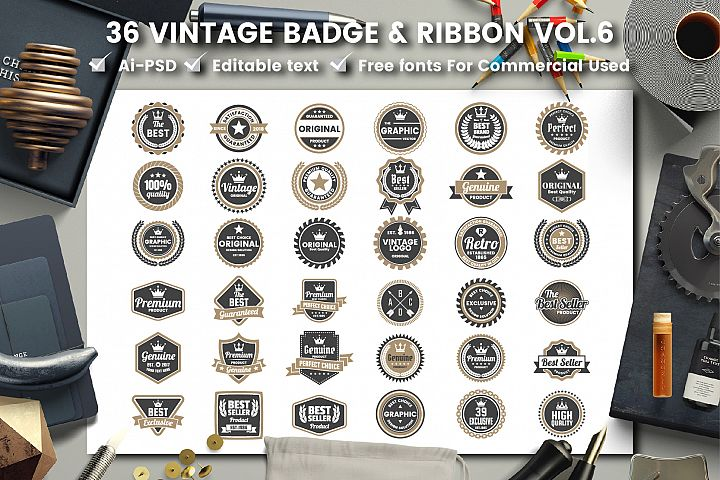36 VINTAGE BADGE & RIBBON Vol.6