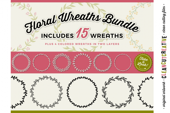 15 svg FLORAL WREATHS floral leaf circle frames - SVG DXF EPS PNG - for Cricut and Silhouette Cameo - clean cutting digital files