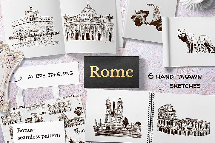 Set of Rome sketches