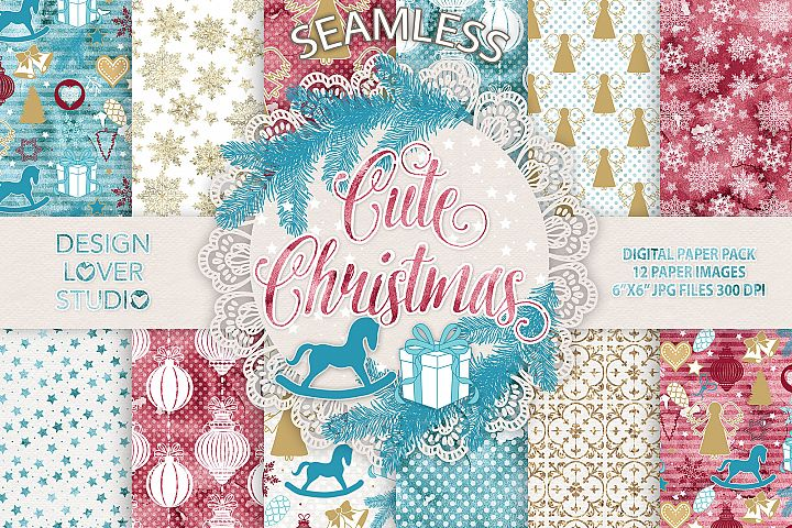 Cute Christmas digital paper pack