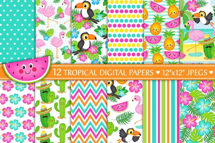 Tropical digital papers, Flamingo digital papers, Cactus digital papers, Tropical patterns