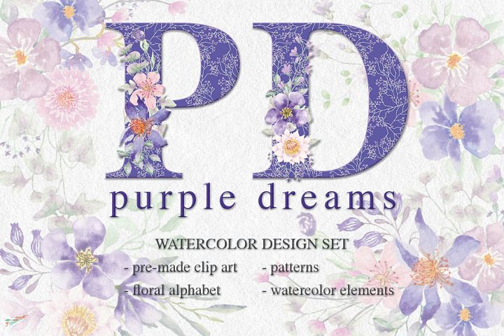 Purple Dreams watercolor design set