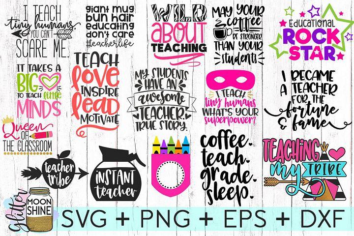 Huge Teacher Bundle of 16 SVG DXF PNG EPS Cutting Files