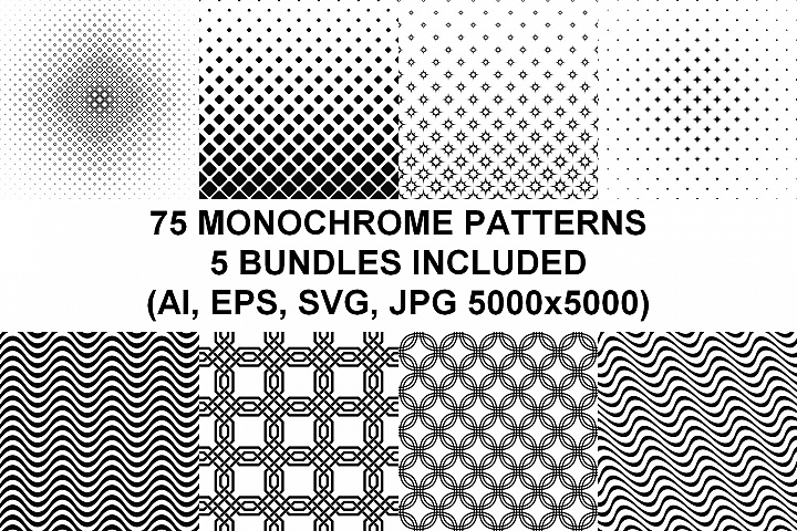 75 Monochrome Geometrical Patterns (AI, EPS, JPG 5000x5000)