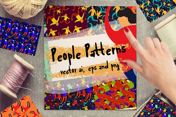 10 Colorful People Patterns 50% off
