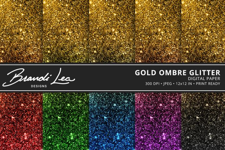 Gold Ombre Glitter Digital Paper Pack
