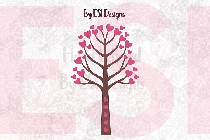 Heart Tree Design - SVG, DXF, EPS & PNG