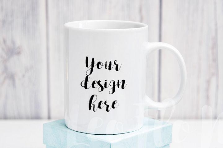 White coffee 11oz mug mock up clock decor rustic background neutral minimal cup template psd smart