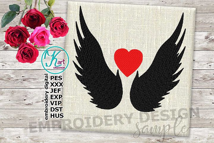angel wings embroidery design, heart embroidery design, wings embroidery, wings embroidery fill design