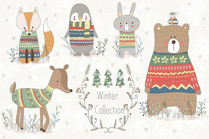 Winter Collection. Animal set