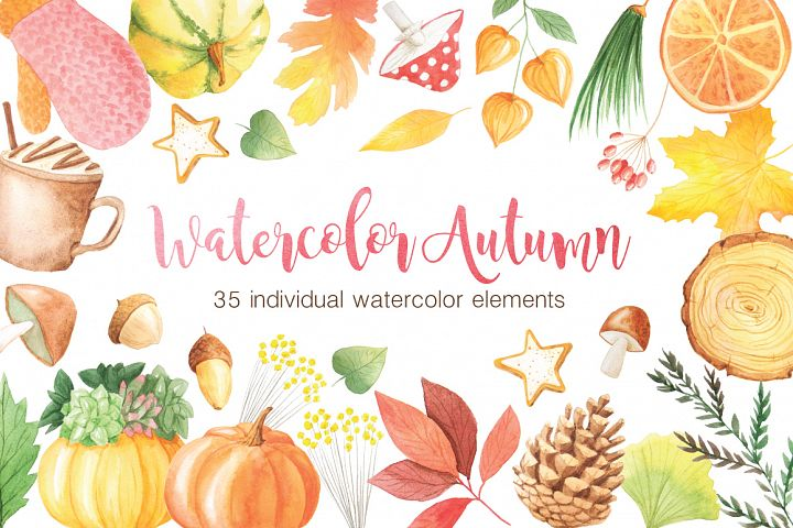 The Watercolor Autumn Collection  - Free Design of The Week