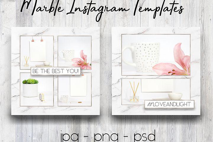 Marble & Silver Instagram Templates | Social Media Templates