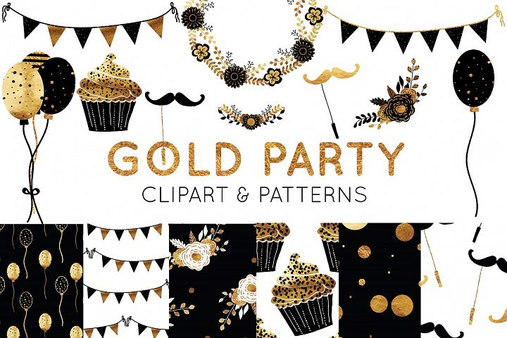 Gold Foil Clipart and Digital Paper