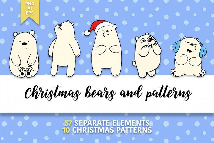 Christmas bears and patterns