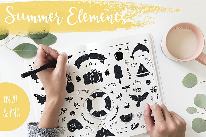 Summer handdrawn illustrations