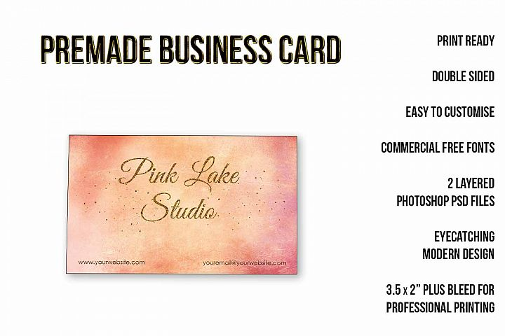 Blush, Apricot and Gold Glitter Business Card Template example 2