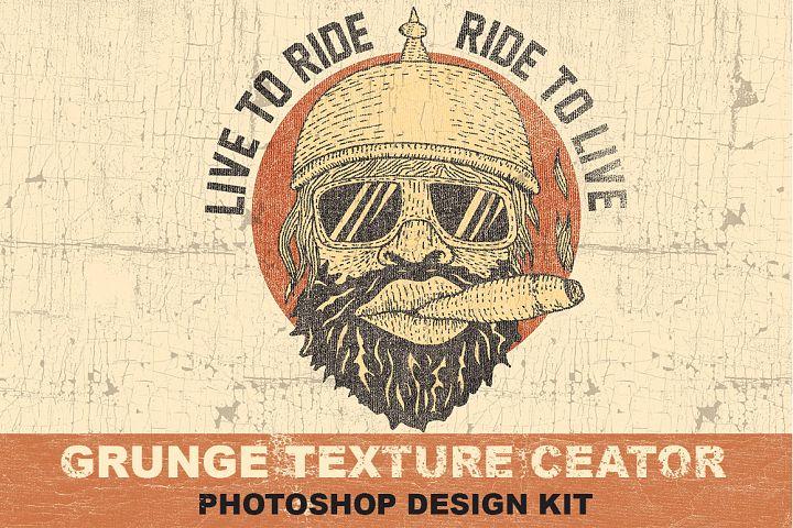 Grunge Texture Creator Photoshop Design Kit