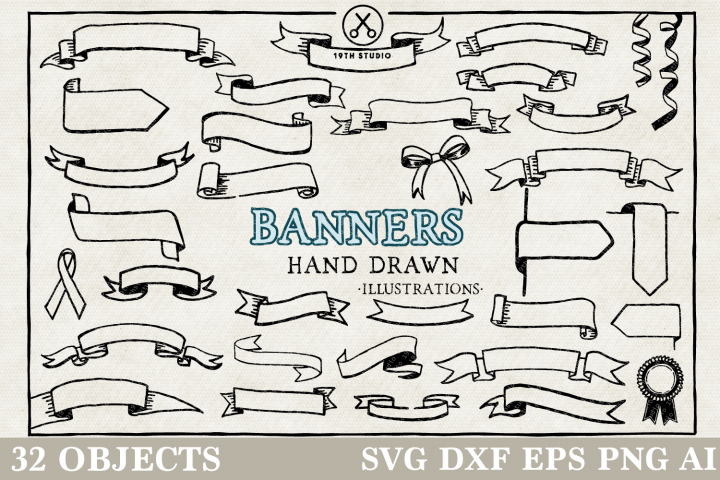 Banners Hand Drawn Illustration Pack - SVG DXF EPS PNG