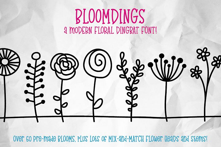 Bloomdings: abstract floral dingbats!