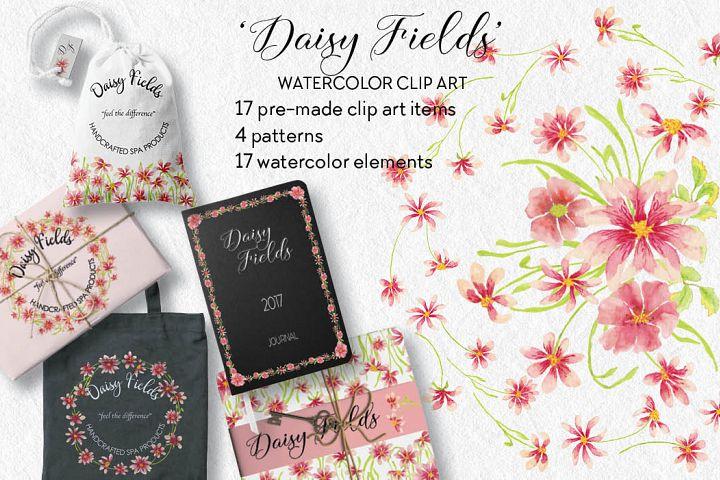 Daisy Fields: watercolor clip art bundle