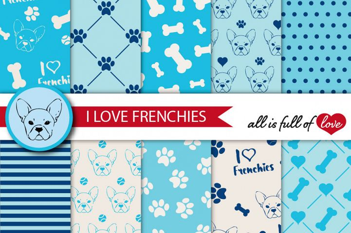 I Love Frenchies Digital Paper French Bulldog Background Patterns in Blue