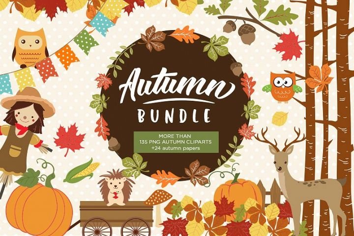 Autumn Clipart Bundle - 138 cliparts Eps and PNG