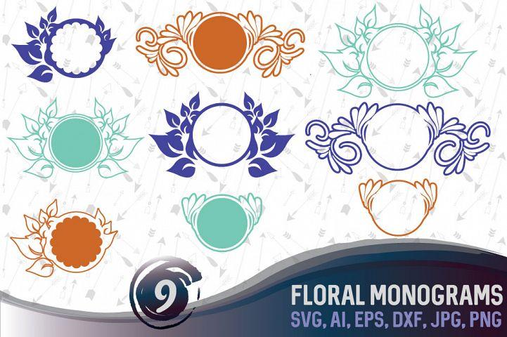 9 Floral Monograms Bundle SVG, DXF, JPG, PNG, DWG, AI, EPS