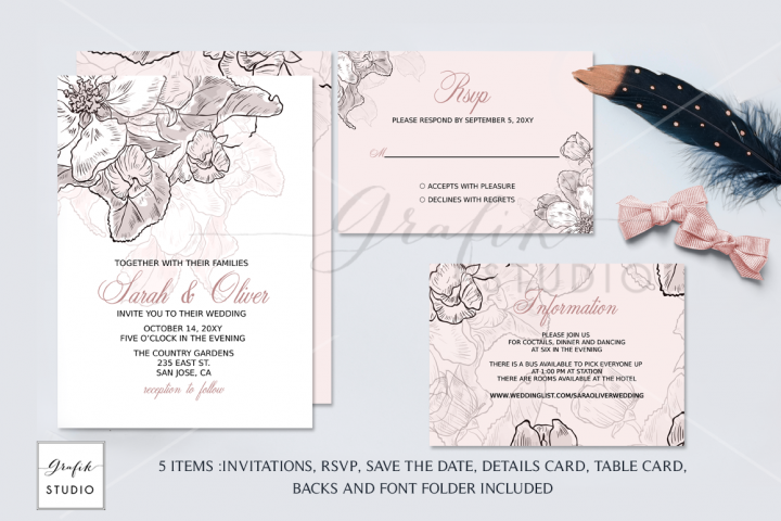 Blush Pink Floral Wedding Invitation Template