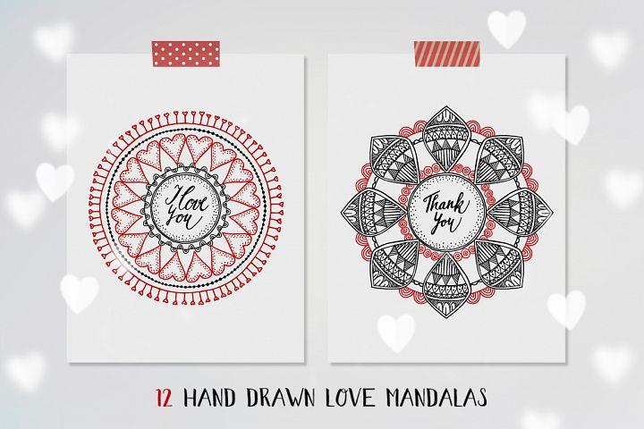 Hand drawn Love Mandalas