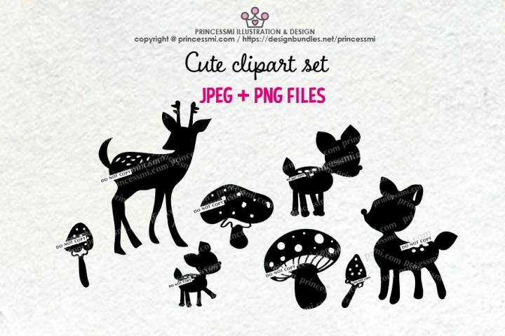 Deer and mushroom Silhouette clipart set