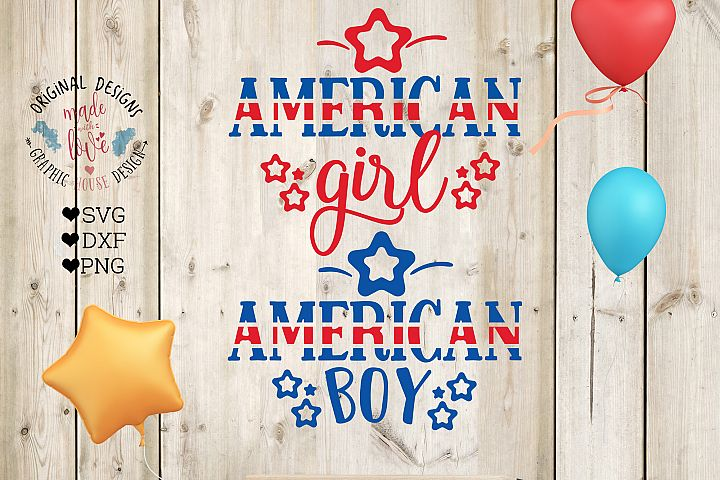 American Boy American Girl Cut File and Printable in SVG, DXF, PNG