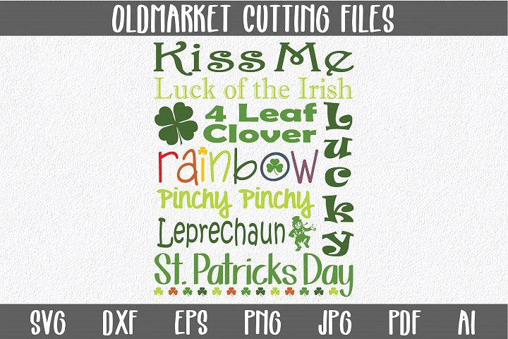 St Patricks Day Subway Art SVG Cut File - St. Patrick SVG - DXF - AI - EPS - PNG - SVG