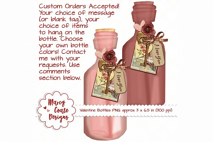 Valentine Bottles shabby chic style PNG elements