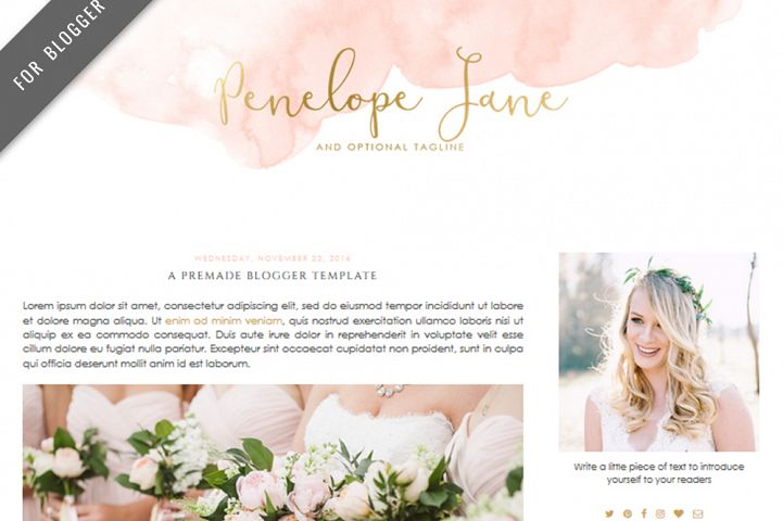 Premade Blogger Template - Mobile Responsive - Watercolor Design Blog - Penelope Jane Theme
